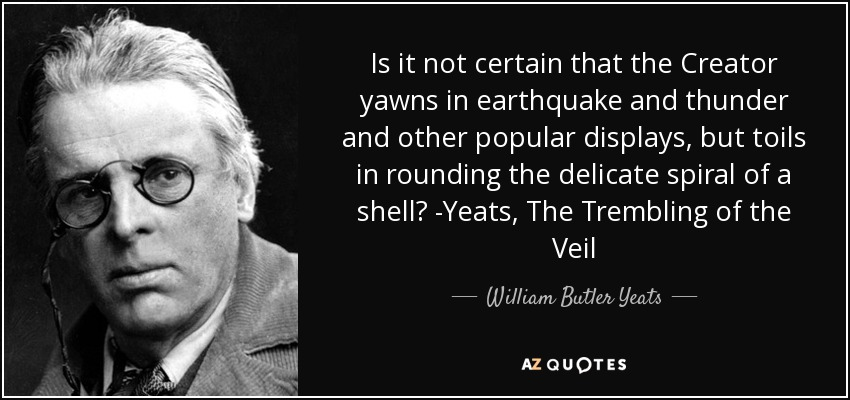 Is it not certain that the Creator yawns in earthquake and thunder and other popular displays, but toils in rounding the delicate spiral of a shell? -Yeats, The Trembling of the Veil - William Butler Yeats