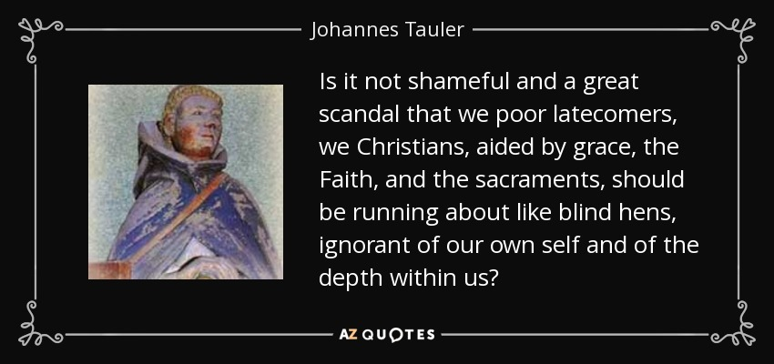 Is it not shameful and a great scandal that we poor latecomers, we Christians, aided by grace, the Faith, and the sacraments, should be running about like blind hens, ignorant of our own self and of the depth within us? - Johannes Tauler
