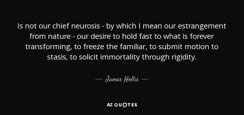 Is not our chief neurosis - by which I mean our estrangement from nature - our desire to hold fast to what is forever transforming, to freeze the familiar, to submit motion to stasis, to solicit immortality through rigidity. - James Hollis