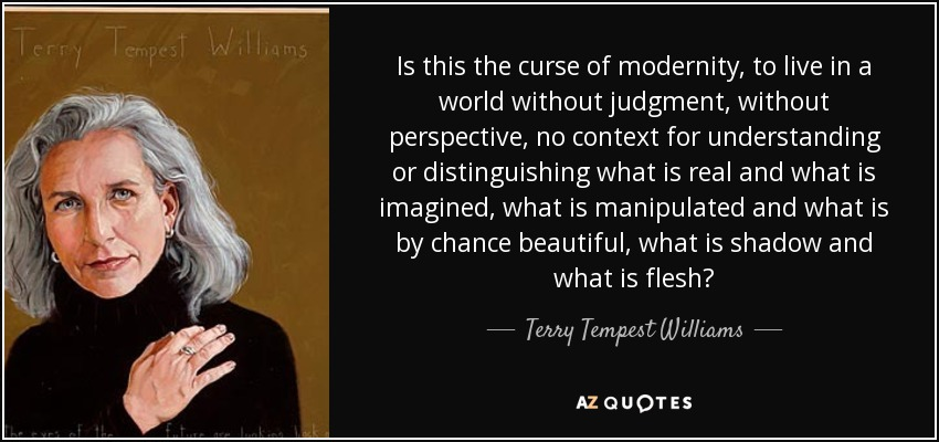 Is this the curse of modernity, to live in a world without judgment, without perspective, no context for understanding or distinguishing what is real and what is imagined, what is manipulated and what is by chance beautiful, what is shadow and what is flesh? - Terry Tempest Williams