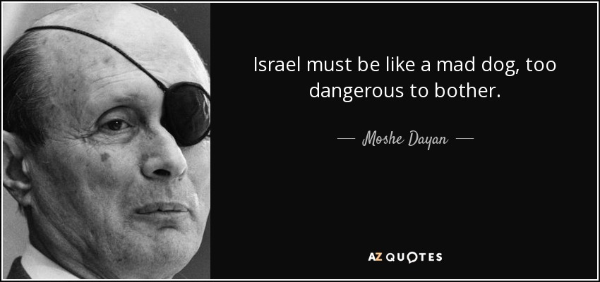 Israel must be like a mad dog, too dangerous to bother. - Moshe Dayan