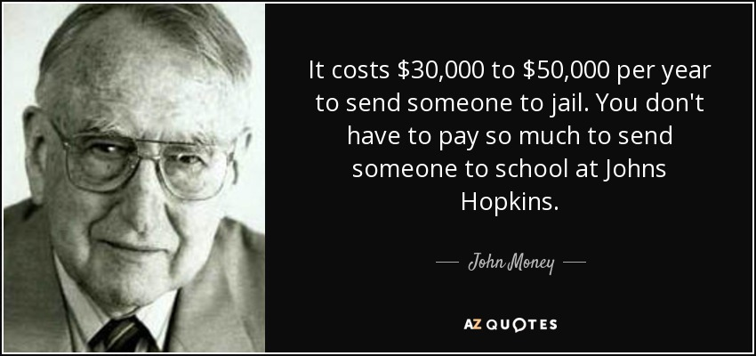 It costs $30,000 to $50,000 per year to send someone to jail. You don't have to pay so much to send someone to school at Johns Hopkins. - John Money