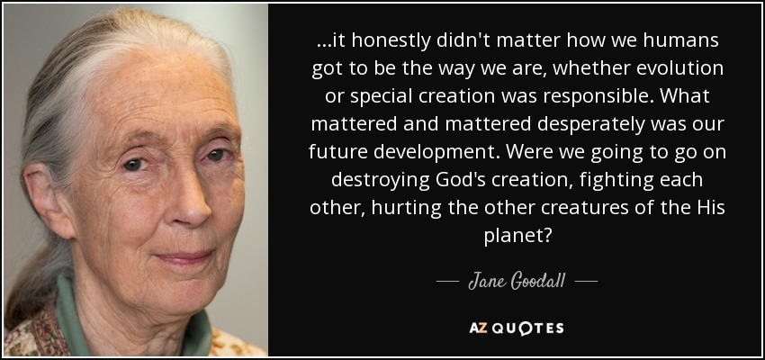 ...it honestly didn't matter how we humans got to be the way we are, whether evolution or special creation was responsible. What mattered and mattered desperately was our future development. Were we going to go on destroying God's creation, fighting each other, hurting the other creatures of the His planet? - Jane Goodall