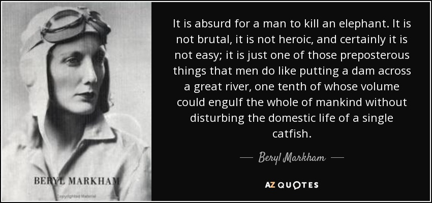 It is absurd for a man to kill an elephant. It is not brutal, it is not heroic, and certainly it is not easy; it is just one of those preposterous things that men do like putting a dam across a great river, one tenth of whose volume could engulf the whole of mankind without disturbing the domestic life of a single catfish. - Beryl Markham
