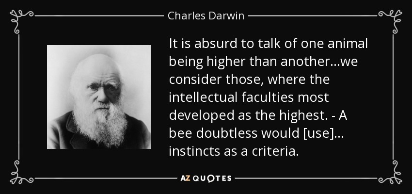 It is absurd to talk of one animal being higher than another...we consider those, where the intellectual faculties most developed as the highest. - A bee doubtless would [use] ... instincts as a criteria. - Charles Darwin