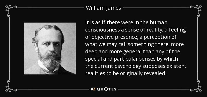 It is as if there were in the human consciousness a sense of reality, a feeling of objective presence, a perception of what we may call something there, more deep and more general than any of the special and particular senses by which the current psychology supposes existent realities to be originally revealed. - William James