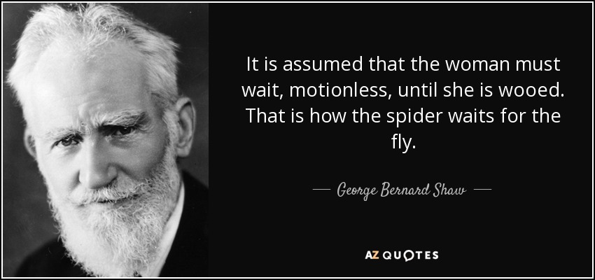 It is assumed that the woman must wait, motionless, until she is wooed. That is how the spider waits for the fly. - George Bernard Shaw