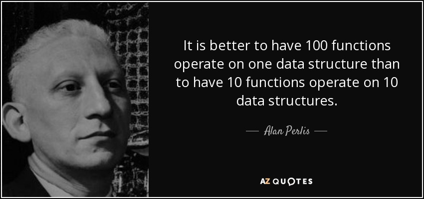 It is better to have 100 functions operate on one data structure than to have 10 functions operate on 10 data structures. - Alan Perlis