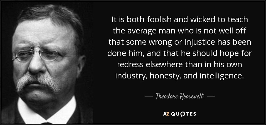 It is both foolish and wicked to teach the average man who is not well off that some wrong or injustice has been done him, and that he should hope for redress elsewhere than in his own industry, honesty, and intelligence. - Theodore Roosevelt