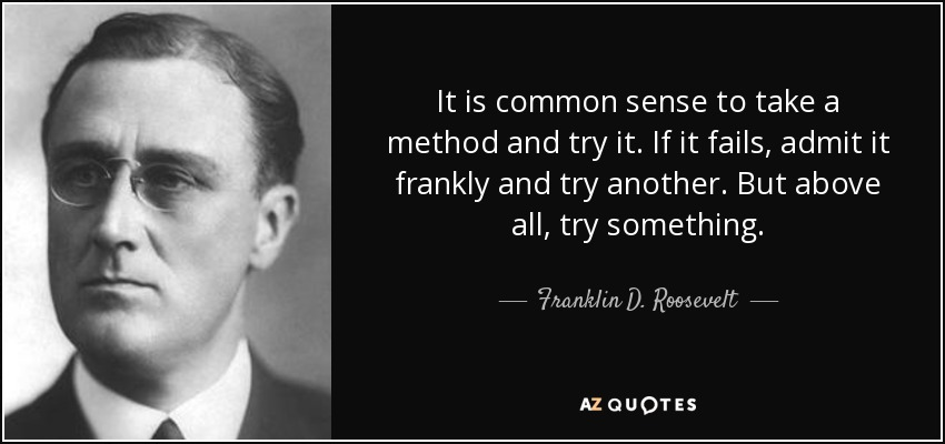It is common sense to take a method and try it. If it fails, admit it frankly and try another. But above all, try something. - Franklin D. Roosevelt