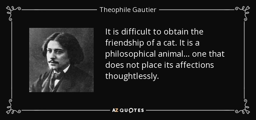 It is difficult to obtain the friendship of a cat. It is a philosophical animal... one that does not place its affections thoughtlessly. - Theophile Gautier