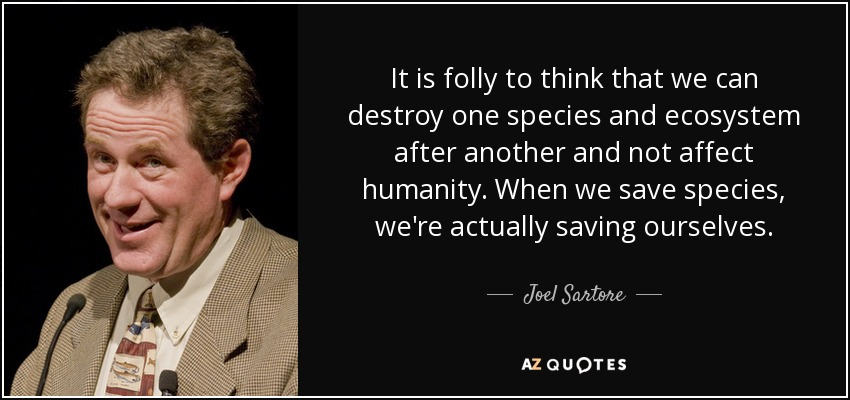It is folly to think that we can destroy one species and ecosystem after another and not affect humanity. When we save species, we're actually saving ourselves. - Joel Sartore
