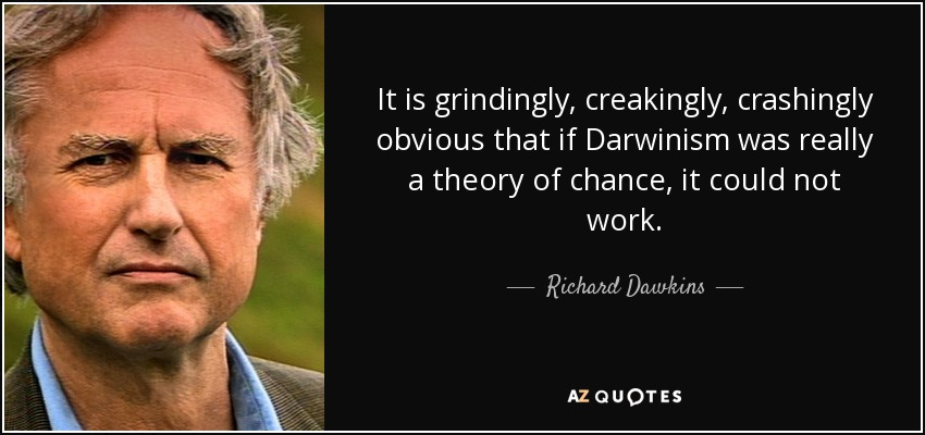 It is grindingly, creakingly, crashingly obvious that if Darwinism was really a theory of chance, it could not work. - Richard Dawkins
