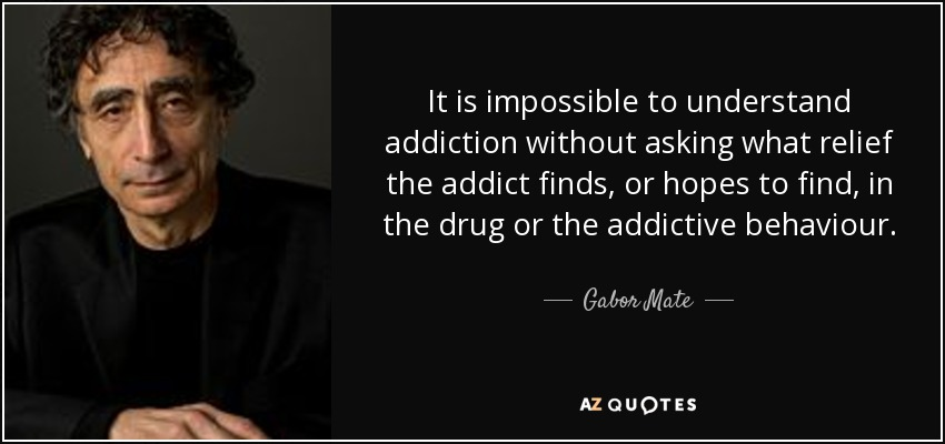 It is impossible to understand addiction without asking what relief the addict finds, or hopes to find, in the drug or the addictive behaviour. - Gabor Mate