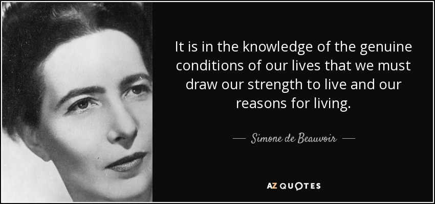 It is in the knowledge of the genuine conditions of our lives that we must draw our strength to live and our reasons for living. - Simone de Beauvoir