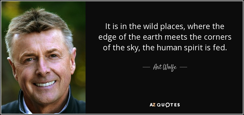 It is in the wild places, where the edge of the earth meets the corners of the sky, the human spirit is fed. - Art Wolfe
