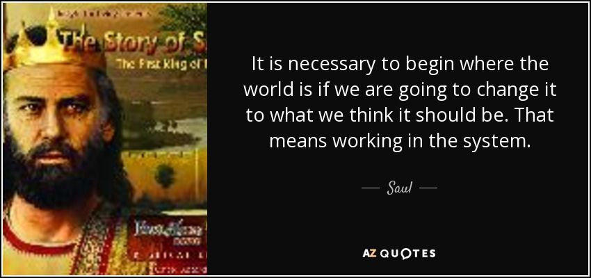 It is necessary to begin where the world is if we are going to change it to what we think it should be. That means working in the system. - Saul