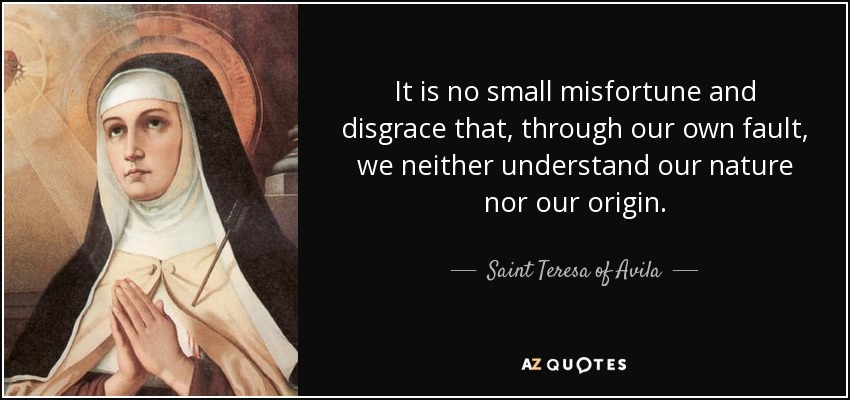 It is no small misfortune and disgrace that, through our own fault, we neither understand our nature nor our origin. - Teresa of Avila