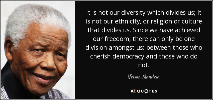Nelson Mandela Quote It Is Not Our Diversity Which
