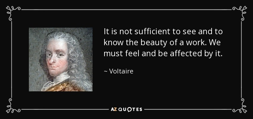 It is not sufficient to see and to know the beauty of a work. We must feel and be affected by it. - Voltaire