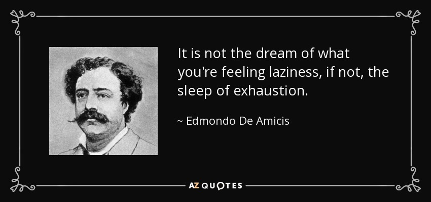 It is not the dream of what you're feeling laziness, if not, the sleep of exhaustion. - Edmondo De Amicis