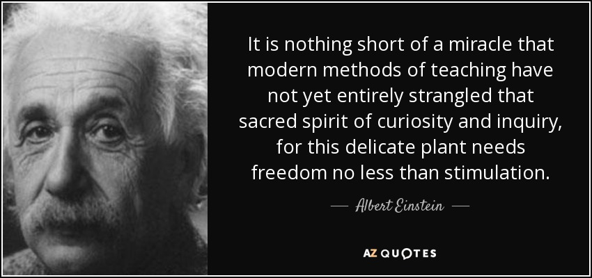 It is nothing short of a miracle that modern methods of teaching have not yet entirely strangled that sacred spirit of curiosity and inquiry, for this delicate plant needs freedom no less than stimulation. - Albert Einstein