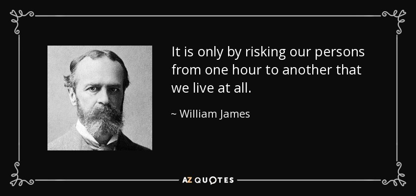 It is only by risking our persons from one hour to another that we live at all. - William James