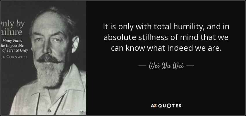 It is only with total humility, and in absolute stillness of mind that we can know what indeed we are. - Wei Wu Wei