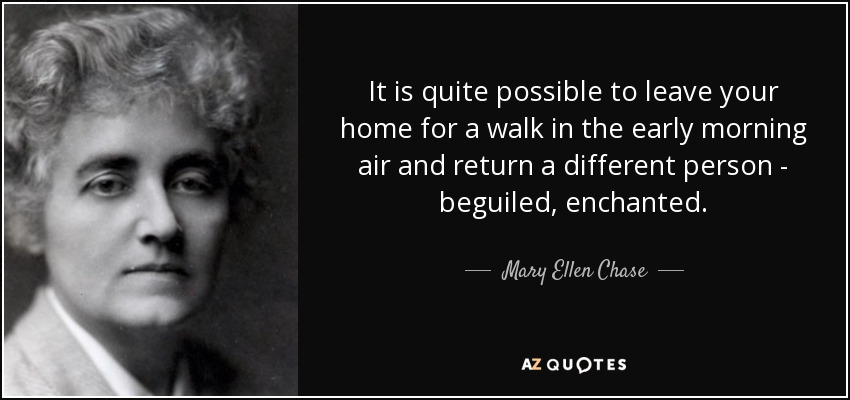 It is quite possible to leave your home for a walk in the early morning air and return a different person - beguiled, enchanted. - Mary Ellen Chase