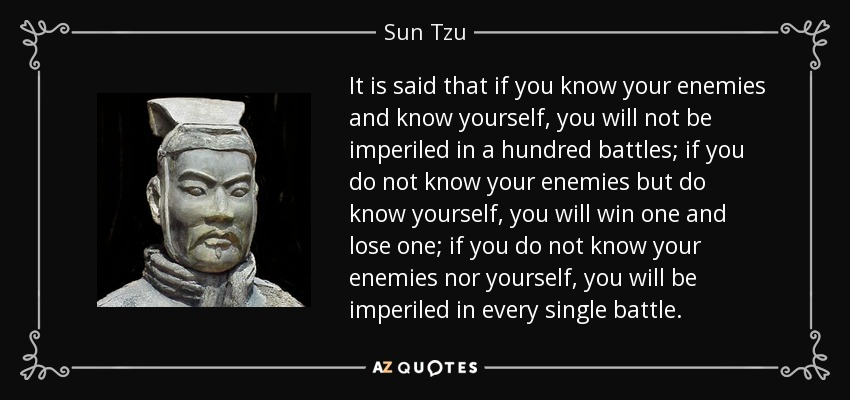 It is said that if you know your enemies and know yourself, you will not be imperiled in a hundred battles; if you do not know your enemies but do know yourself, you will win one and lose one; if you do not know your enemies nor yourself, you will be imperiled in every single battle. - Sun Tzu