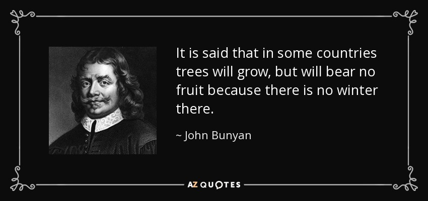 It is said that in some countries trees will grow, but will bear no fruit because there is no winter there. - John Bunyan