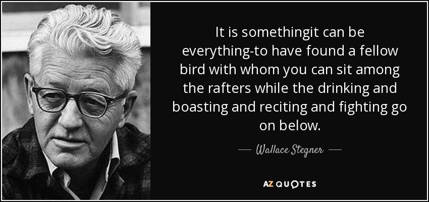 It is somethingit can be everything-to have found a fellow bird with whom you can sit among the rafters while the drinking and boasting and reciting and fighting go on below. - Wallace Stegner
