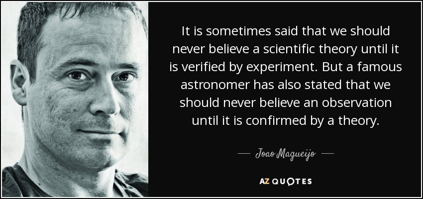 It is sometimes said that we should never believe a scientific theory until it is verified by experiment. But a famous astronomer has also stated that we should never believe an observation until it is confirmed by a theory. - Joao Magueijo
