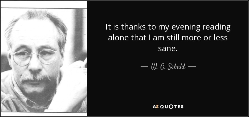 It is thanks to my evening reading alone that I am still more or less sane. - W. G. Sebald