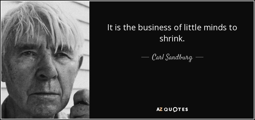 It is the business of little minds to shrink. - Carl Sandburg