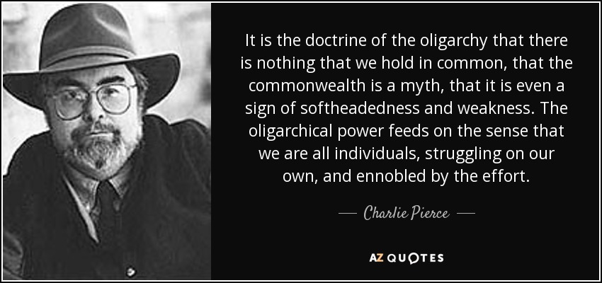 It is the doctrine of the oligarchy that there is nothing that we hold in common, that the commonwealth is a myth, that it is even a sign of softheadedness and weakness. The oligarchical power feeds on the sense that we are all individuals, struggling on our own, and ennobled by the effort. - Charlie Pierce