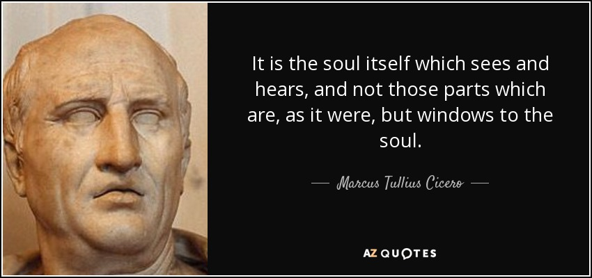 It is the soul itself which sees and hears, and not those parts which are, as it were, but windows to the soul. - Marcus Tullius Cicero