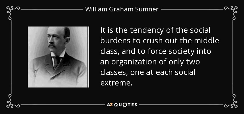 It is the tendency of the social burdens to crush out the middle class, and to force society into an organization of only two classes, one at each social extreme. - William Graham Sumner