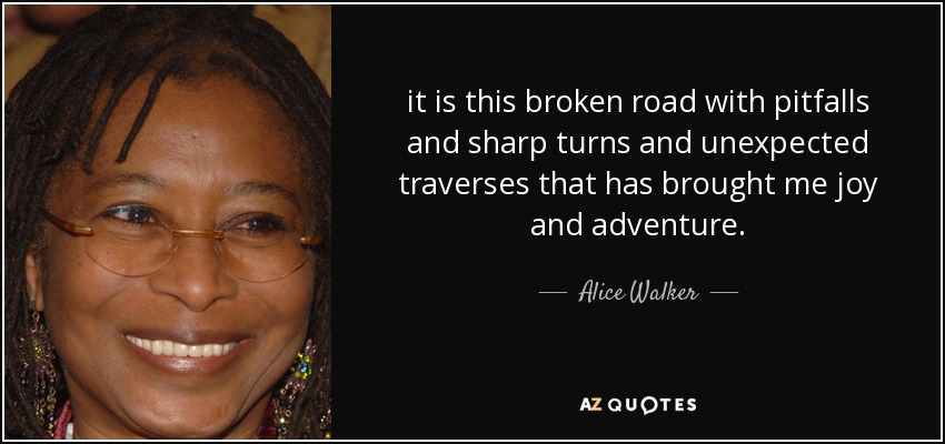 it is this broken road with pitfalls and sharp turns and unexpected traverses that has brought me joy and adventure. - Alice Walker