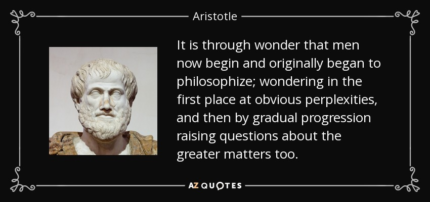 It is through wonder that men now begin and originally began to philosophize; wondering in the first place at obvious perplexities, and then by gradual progression raising questions about the greater matters too. - Aristotle