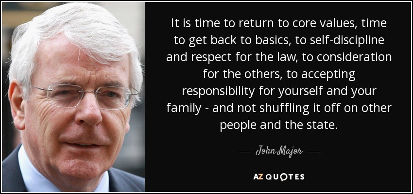 It is time to return to core values, time to get back to basics , to self-discipline and respect for the law, to consideration for the others, to accepting responsibility for yourself and your family - and not shuffling it off on other people and the state. - John Major
