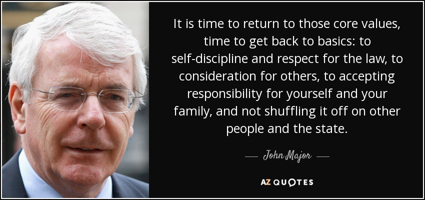 It is time to return to those core values, time to get back to basics: to self-discipline and respect for the law, to consideration for others, to accepting responsibility for yourself and your family, and not shuffling it off on other people and the state. - John Major