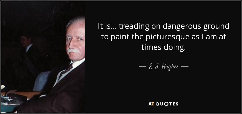 It is... treading on dangerous ground to paint the picturesque as I am at times doing. - E. J. Hughes