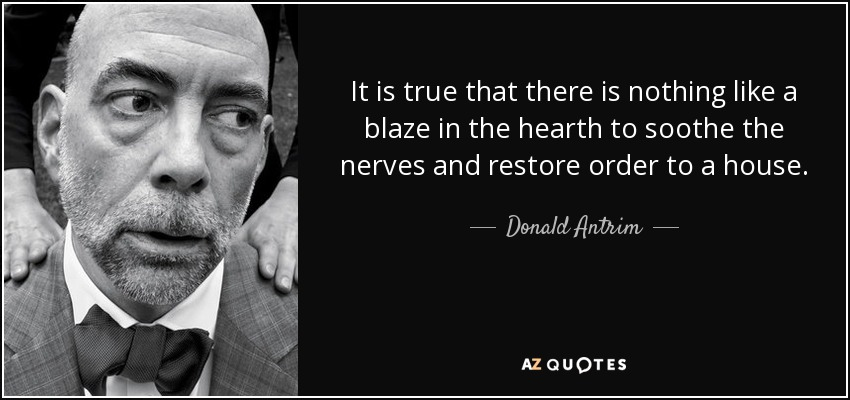It is true that there is nothing like a blaze in the hearth to soothe the nerves and restore order to a house. - Donald Antrim