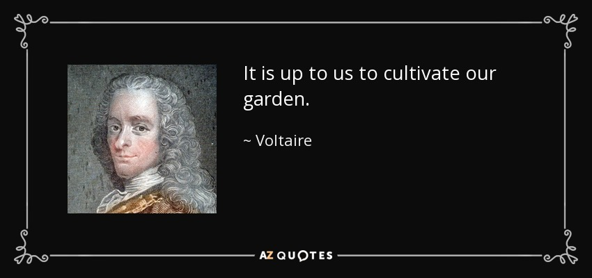 It is up to us to cultivate our garden. - Voltaire