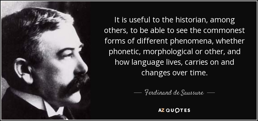 It is useful to the historian, among others, to be able to see the commonest forms of different phenomena, whether phonetic, morphological or other, and how language lives, carries on and changes over time. - Ferdinand de Saussure