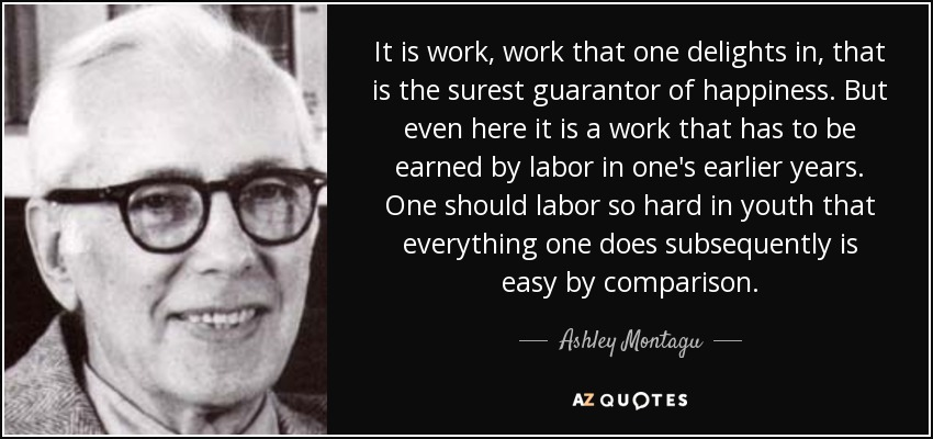 It is work, work that one delights in, that is the surest guarantor of happiness. But even here it is a work that has to be earned by labor in one's earlier years. One should labor so hard in youth that everything one does subsequently is easy by comparison. - Ashley Montagu