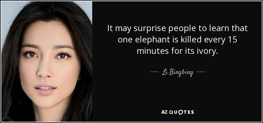 It may surprise people to learn that one elephant is killed every 15 minutes for its ivory. - Li Bingbing