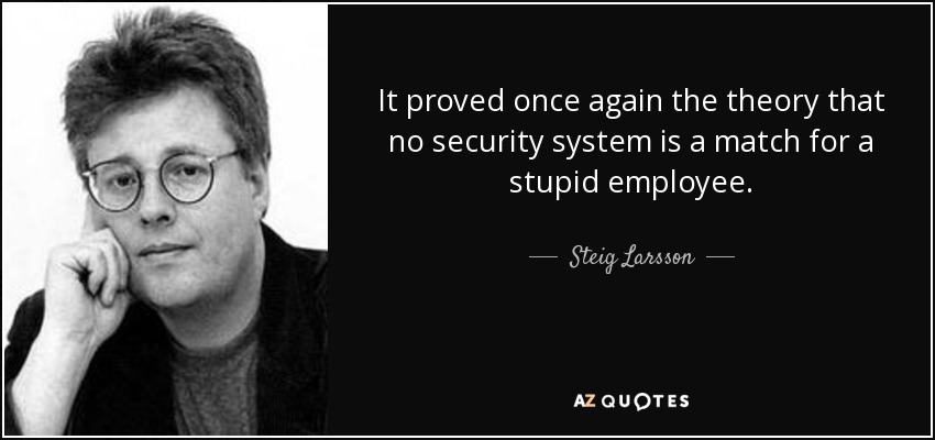 It proved once again the theory that no security system is a match for a stupid employee. - Steig Larsson