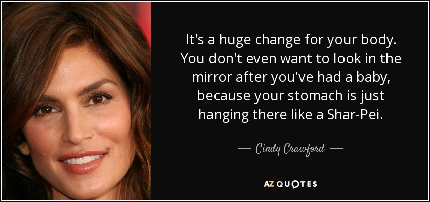 It's a huge change for your body. You don't even want to look in the mirror after you've had a baby, because your stomach is just hanging there like a Shar-Pei. - Cindy Crawford